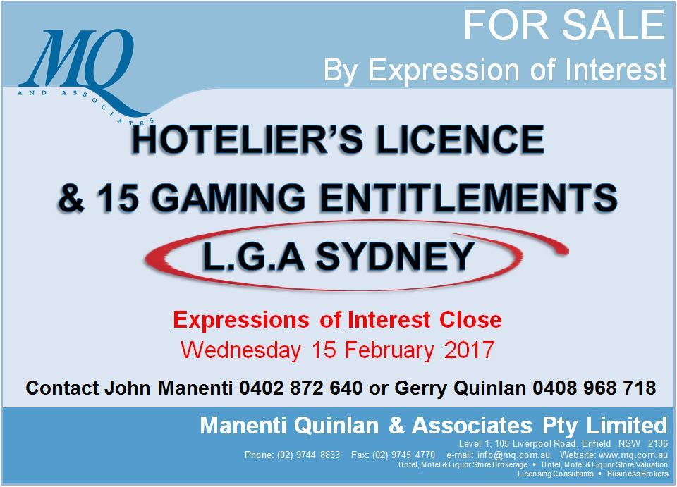 EOI - Hoteliers Licence & 15 Gaming Entielments