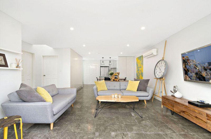 Sleek, penthouse style apartment.