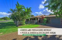 BARGAIN BRICK + TEENAGERS RETREAT + SOLAR POWER + IN-GROUND POOL + SHEDS!!
