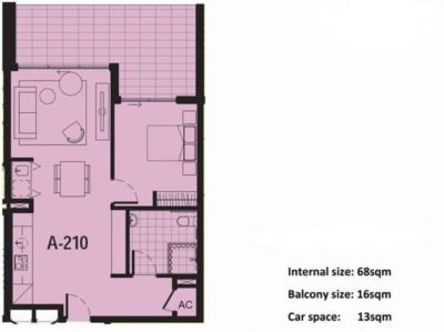 Extra large north facing one bedroom, premium location