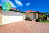 Spacious three bedroom villa with double garage. Open plan living, wood floors, solar panels and more!
