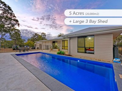 NEAR NEW HOME + POOL & BIG SHED on 5 ACRES!!