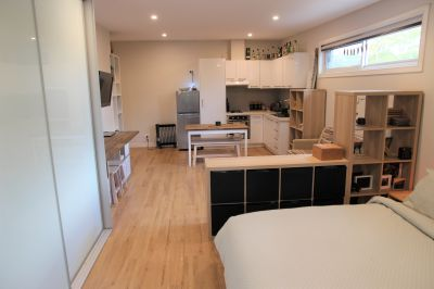 Modern, spacious studio with full kitchen and balcony