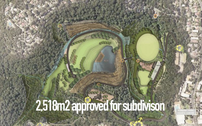 2518 meters of land  in Hornsby Approved for Subdivision Potential Water Lake front overlooking multimillion dollar plan to create centenial parklands of the north west.
