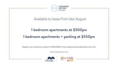 1 Bedroom Apartments for Lease in Mirvac's Award-Winning Marrick & Co.!