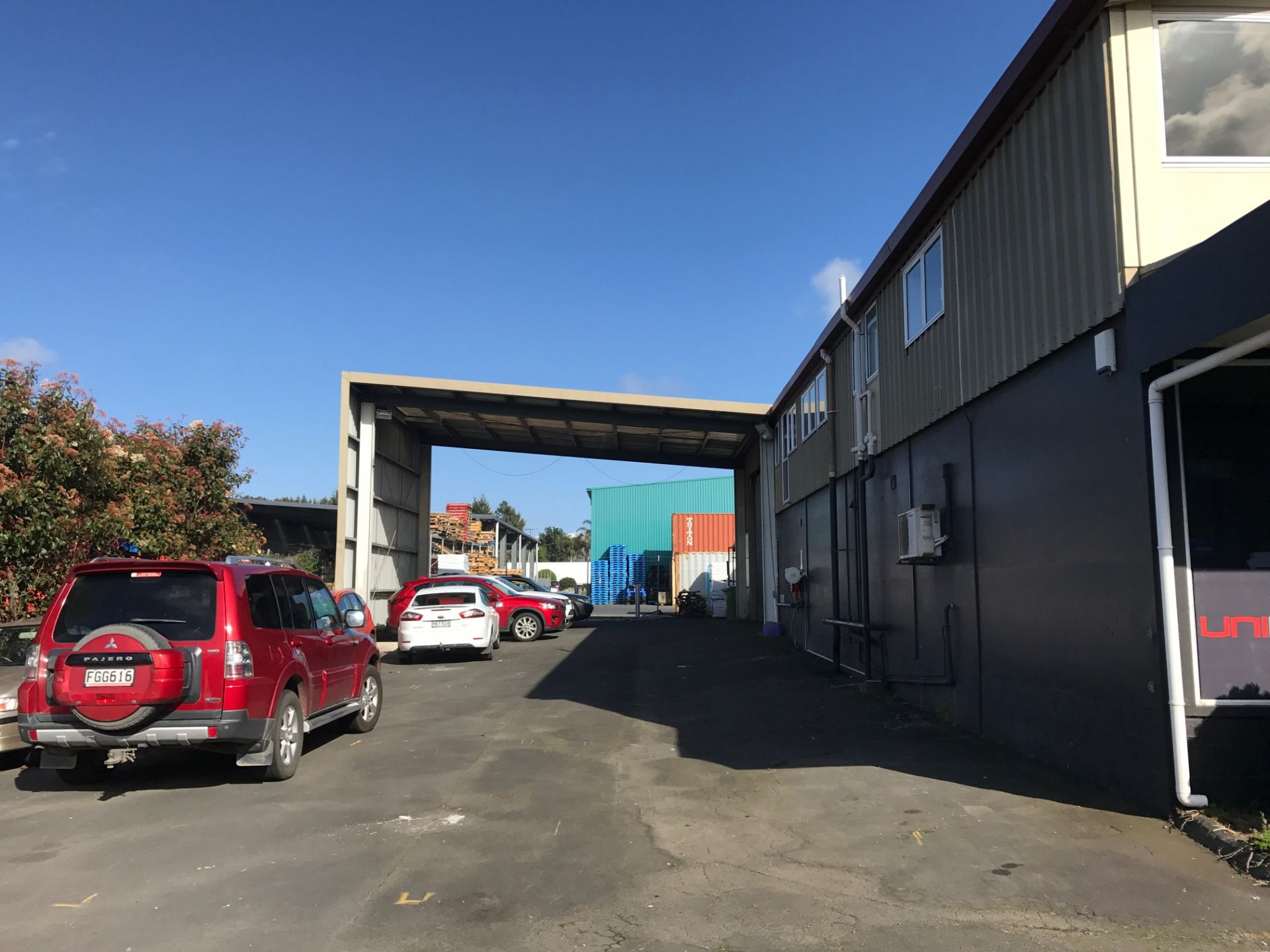 Large yard with warehouse