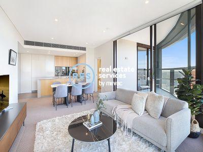 Panoramic city views in sleek apartment