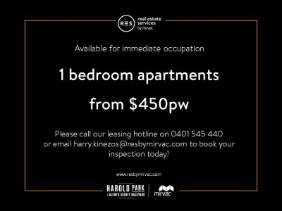 Park-Side, 1-Bedroom Apartments For Lease in Glebe's Secret Backyard - Harold Park!