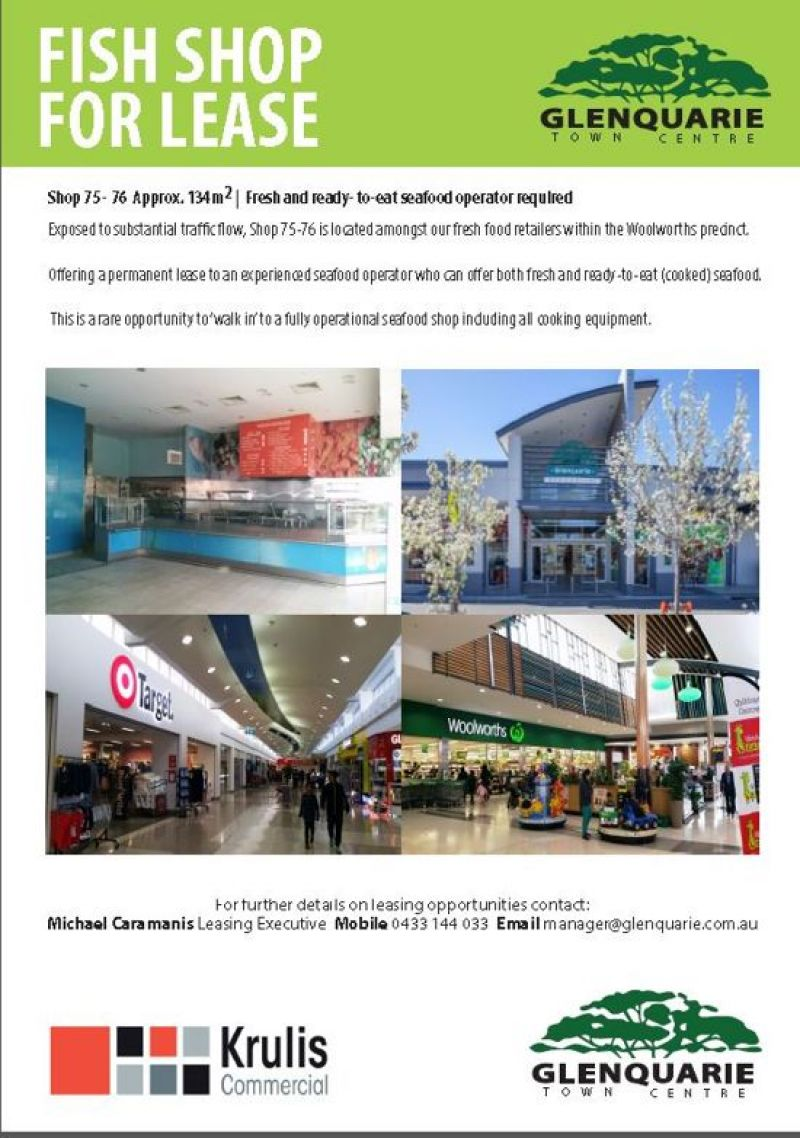 SEAFOOD SHOP FOR LEASE IN GLENQUARIE TOWN CENTRE