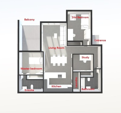 Brand new apartment with 2.5 rooms, 2 bathrooms, secure car space and storage locker