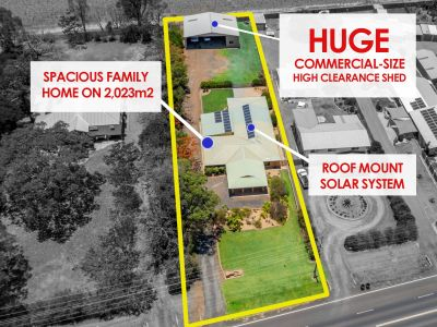 LARGE FAMILY HOME + HUGE COMMERCIAL-SIZE SHED on 2,023m2!