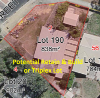 POTENTIAL RETAIN & BUILD OR TRIPLEX LOT ON 838M2 R30 CORNER BLOCK