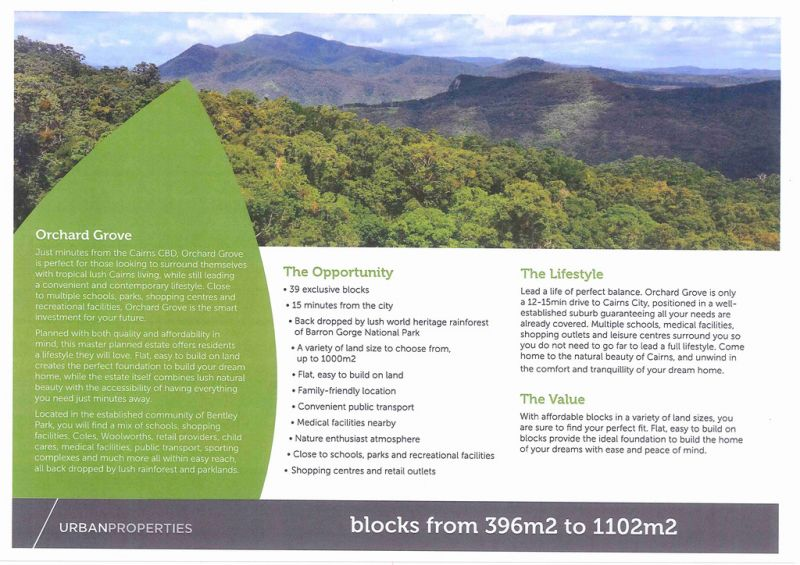 Opportunity For Astute Investor-Fully Approved Future Residential Land Estate In Cairns Growth Corridor