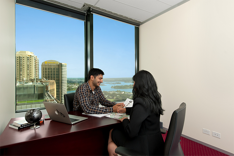 Modern workspace for 3 people with spectacular views of Sydney CBD and beyond