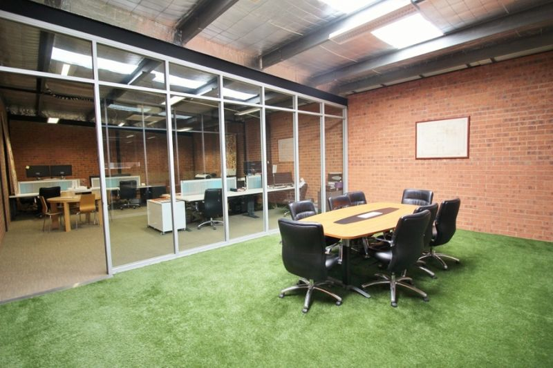 Renovated warehouse style office space