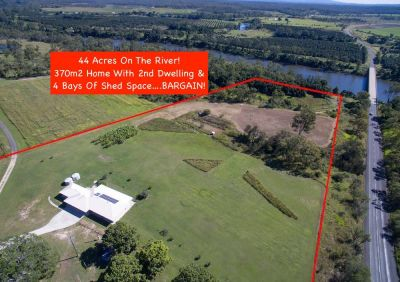 44 ACRES ON THE RIVER WITH LARGE MODERN HOME, GRANNY FLAT & 2 SHEDS!