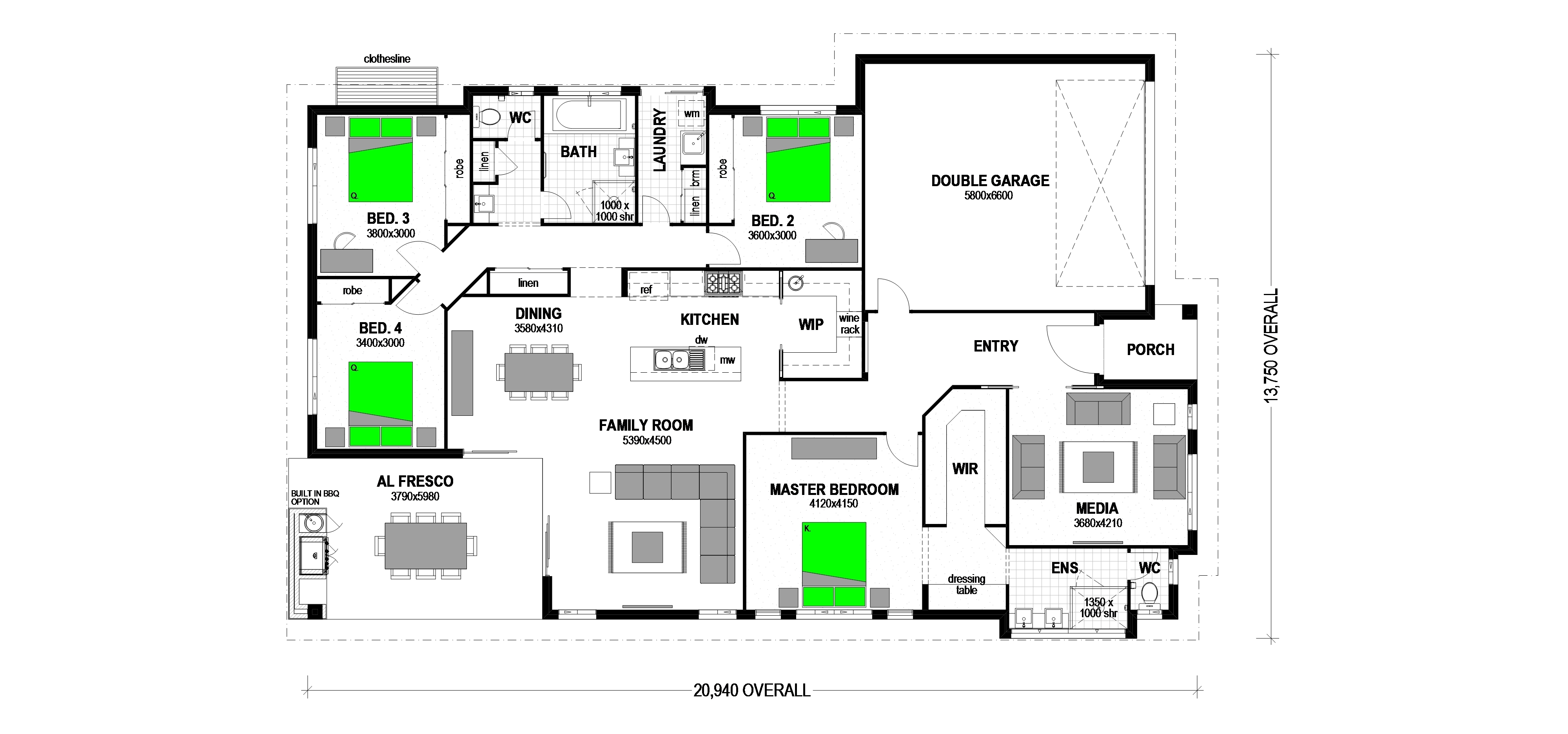 "LOT 44 DAINTREE COURT ""PARKLANDS GRANGE"" BRANYAN Floorplan"