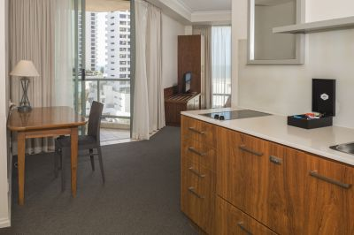 Fully furnished studio apartment with kitchenette